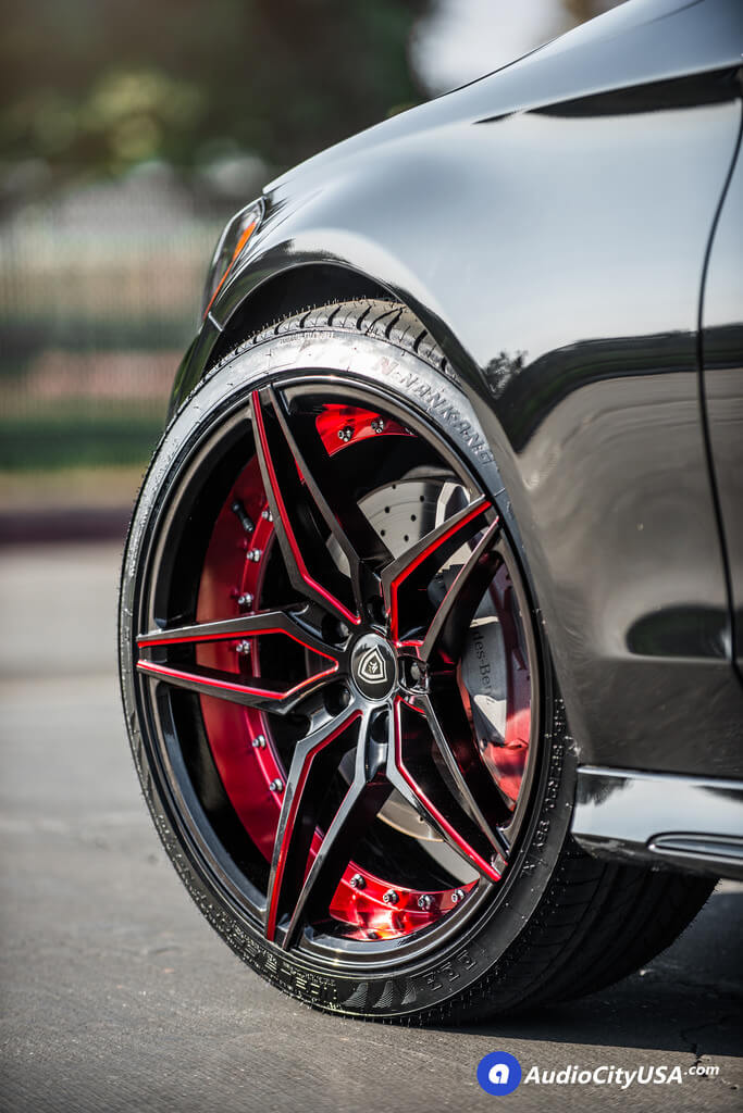 "Re Chrome Rims >> 20"" Marquee Wheels 3259 Gloss Black with Red Accents Rims 