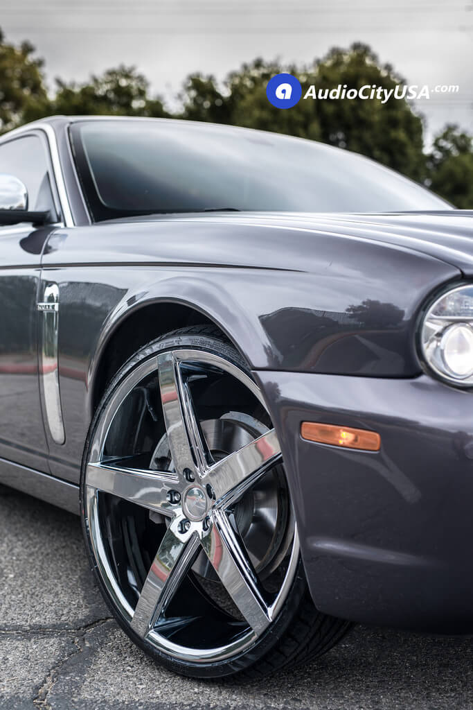22″ Paragon Wheels Rosso-Affinity Chrome Rims | 2008 Jaguar XJ