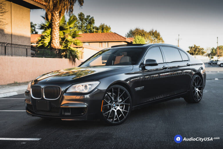 2012 BMW 750 li | 22″ Adventus Wheels AVX-7 Black Machine rims | AudioCityUsa
