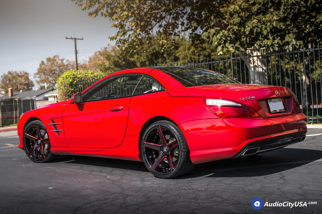 """West Covina Mercedes >> 20"""" MQ Wheels 3226 Gloss Black with Red Milled Extreme Concave Rims 