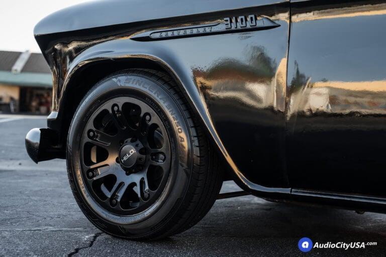 1955 Chevy 3100 Pick-Up Truck | 17×9 Helo Wheels HE904 Satin Black Finish | 235-60-17 Falken Sincera SN250 AS