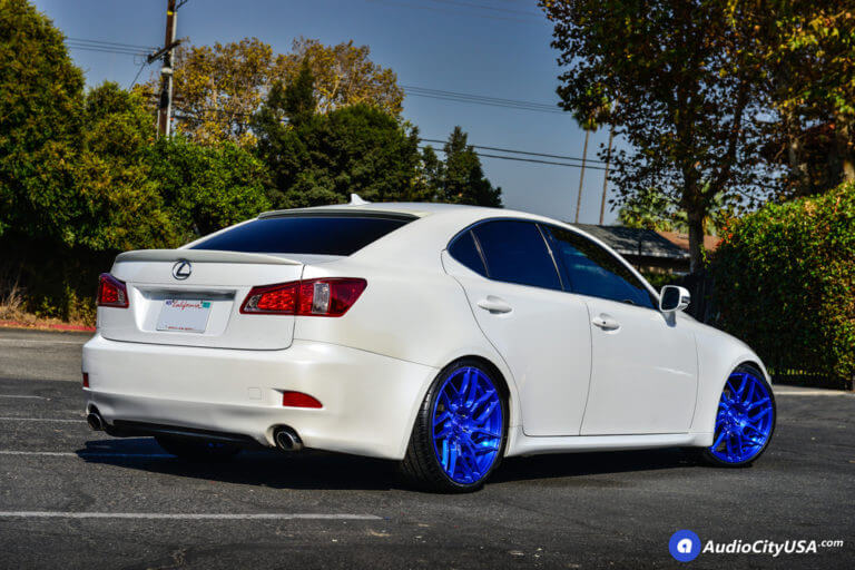 19″ Rohana Wheels RFX7 Custom Pica Blue Finish Rims | H&R Springs | 2009 Lexus IS250