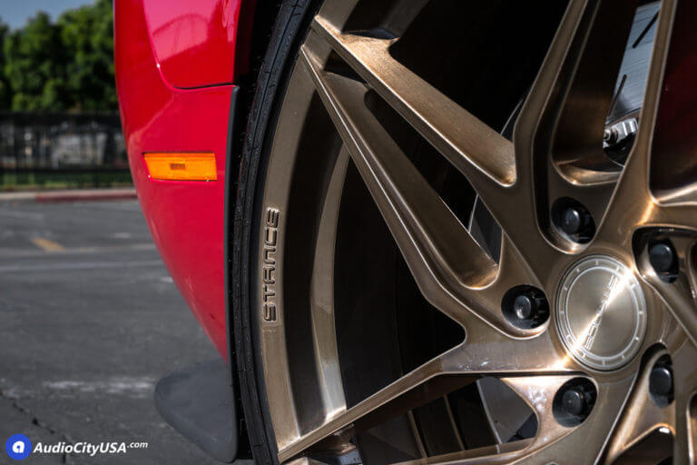 Red Dodge Challenger Hellcat | 20″ Stance Wheels SF04 Brush Bronze Finish | Eibach Springs | AudioCityUsa