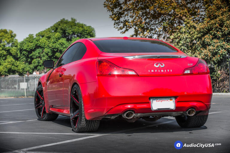 20″ Marquee Wheel 3226 Gloss Black with Red Accent Rims  | 2013 Infiniti G37 Coupe