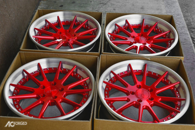 19″ AC Forged Wheels ACR 316 Candy Apple Red, Brush Silver Step Lip  |  Built for BMW 328 i