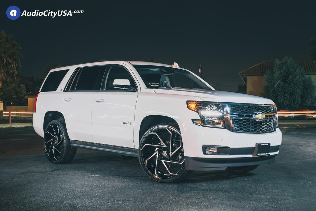 "26"" Lexani Wheels Cyclone Black Machined Rims for 2018 Chevy Tahoe Audio City USA"