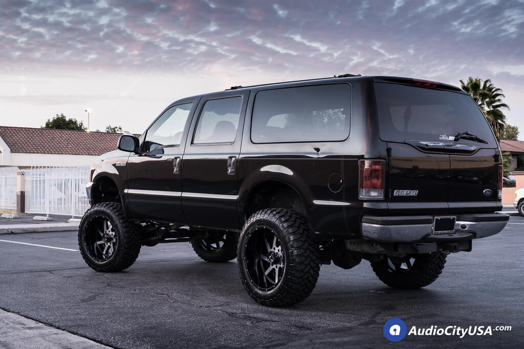 "Ford Excursion Blacked Out >> 22"" Full Throttle Wheels FT-1 Black Machined Rims 