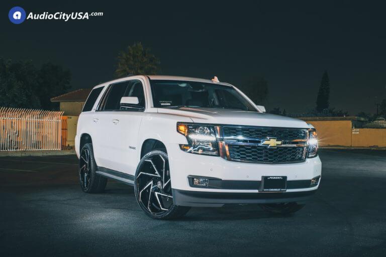26″ Lexani Wheels Cyclone Black Machined Rims | 2018 Chevy Tahoe