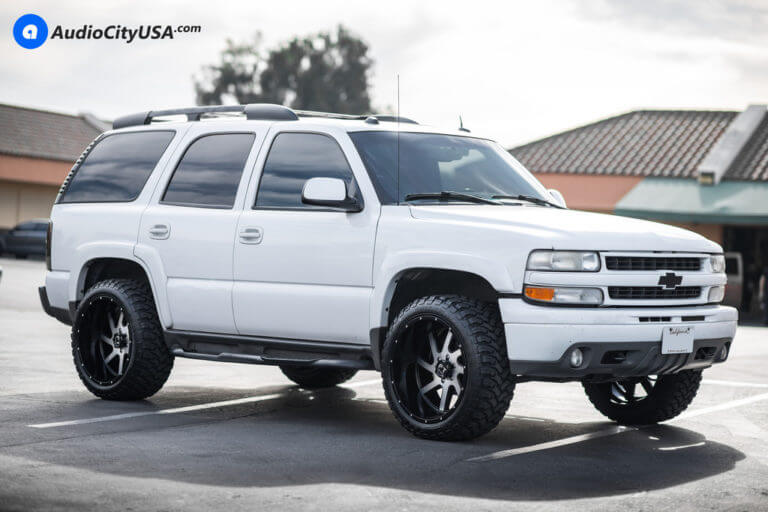 22″ Full Throttle Wheels FT-1 Black Machine Rims | 33×12.5×22 RBP MT Tires | 2006 Chevy Tahoe