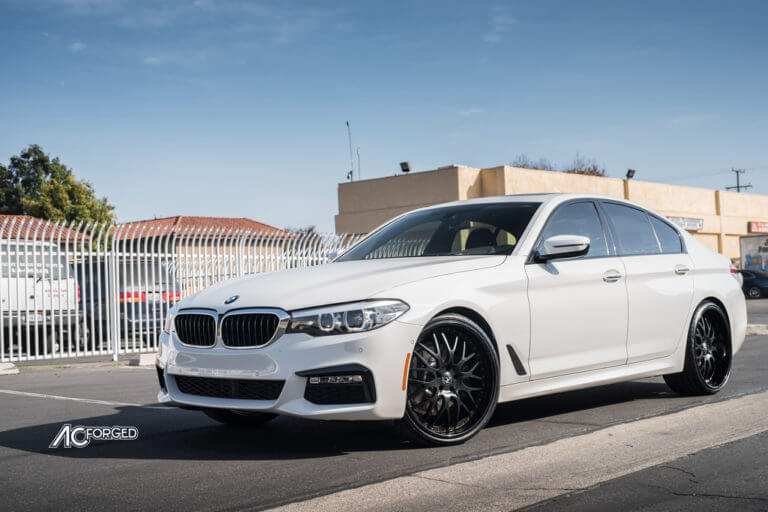 22″ AC Forged Wheels AC313 Matte Black Face with Gloss Black Lip and Gold Rivets Rims | 2018 BMW 530i