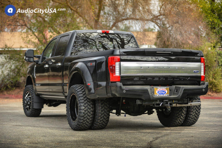 20″ Fuel Wheels D574 Cleaver Dually Gloss Black Milled Rims | 35×12.5×20 RBP Tires Repulsor MT | Pro Comp Leveling Kit | 2018 Ford F-350 Dually Super Duty