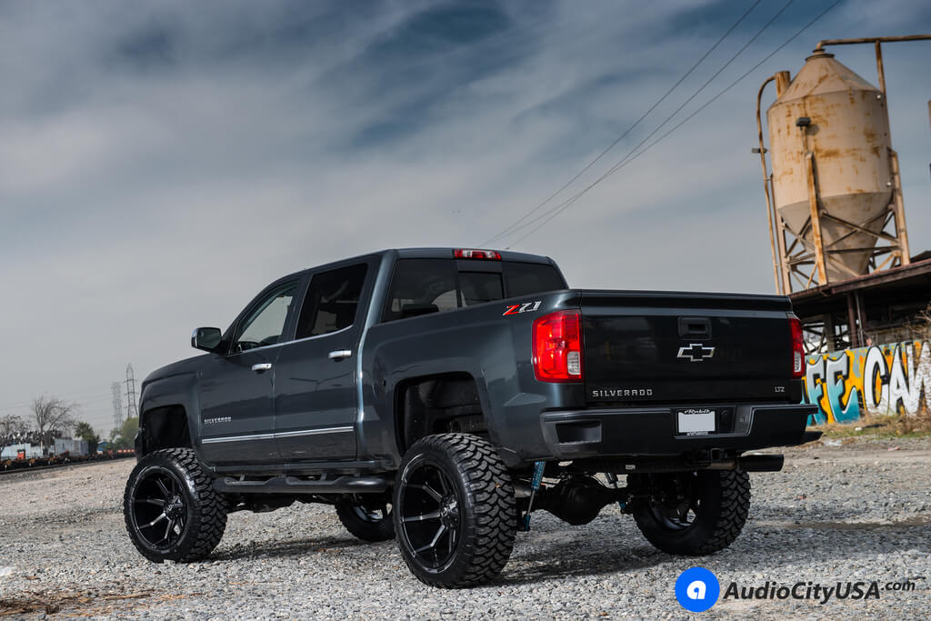 """Lifted Chevy Silverado 2018 >> 20"""" Fuel Wheels D556 Coupler Black Machined with Dark Tint Face Rims 