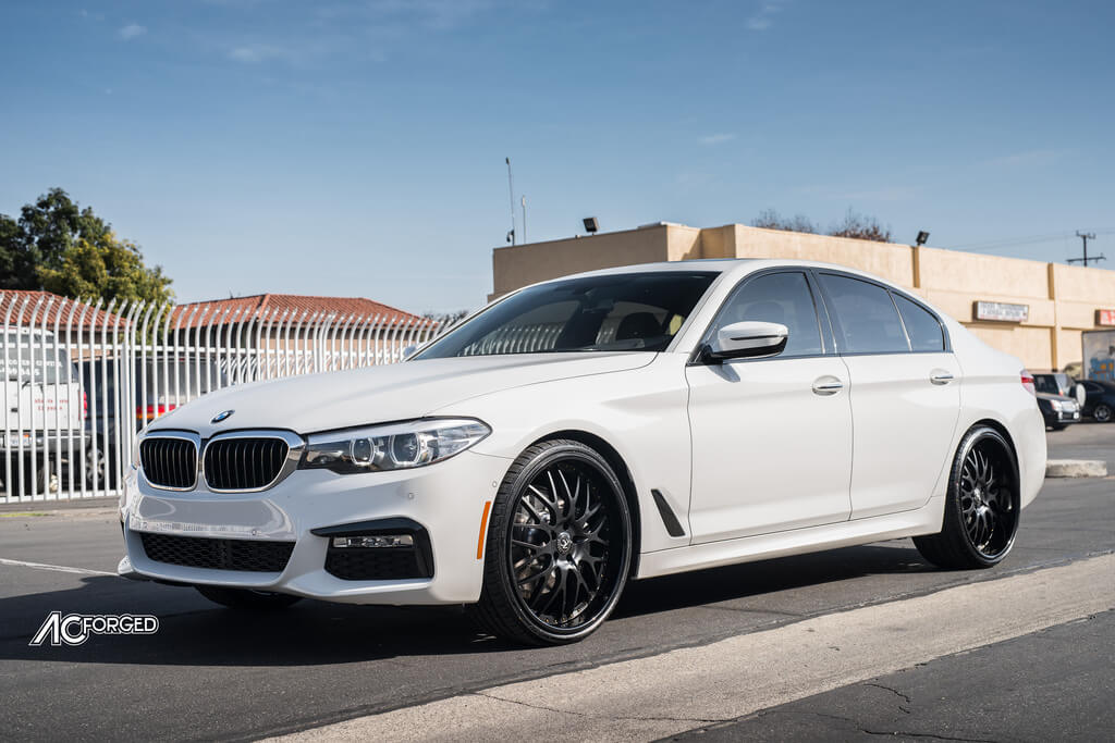 22 Ac Forged Wheels Ac313 Matte Black Face With Gloss Black Lip And Gold Rivets Rims 2018 Bmw 530i Blg010418 Blogblog