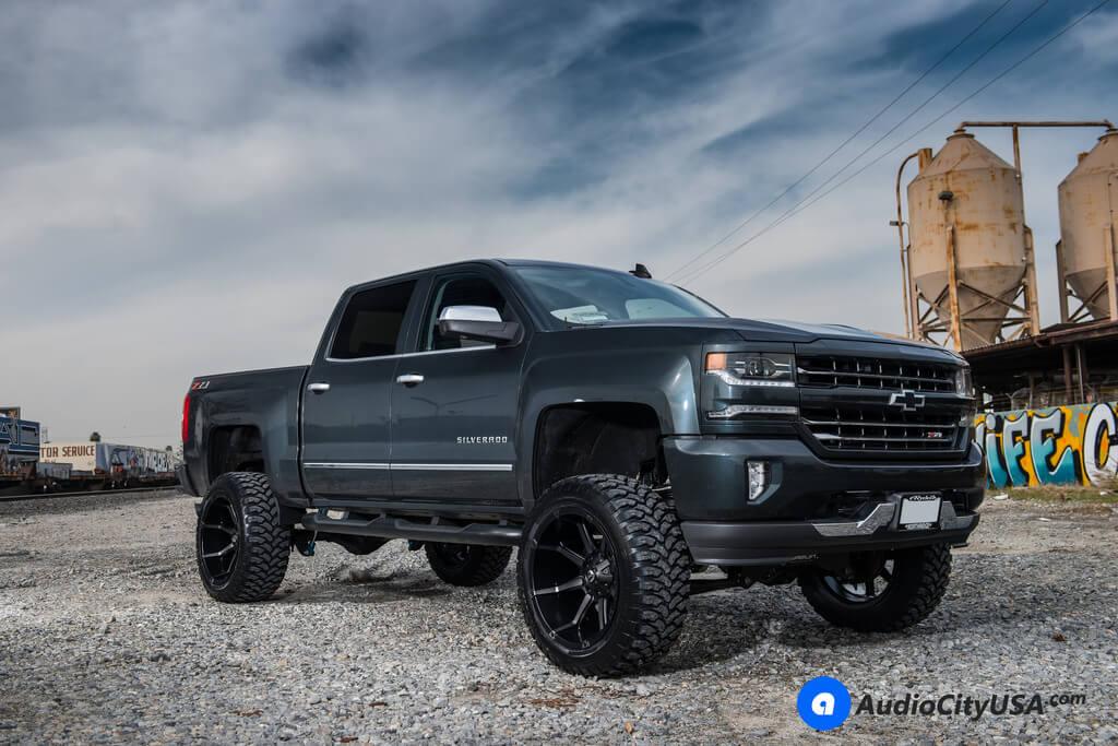 "Renegade Lift Kit >> 20"" Fuel Wheels D556 Coupler Black Machined with Dark Tint Face Rims | 35x12.5x20 RBP Tires ..."