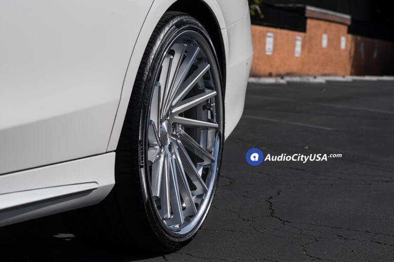 22″ Giovanna Wheels Spira FF Silver Machined with Chrome Lip Rims | Pirelli Tires P-Zero Nero | 2015 Mercedes Benz S550