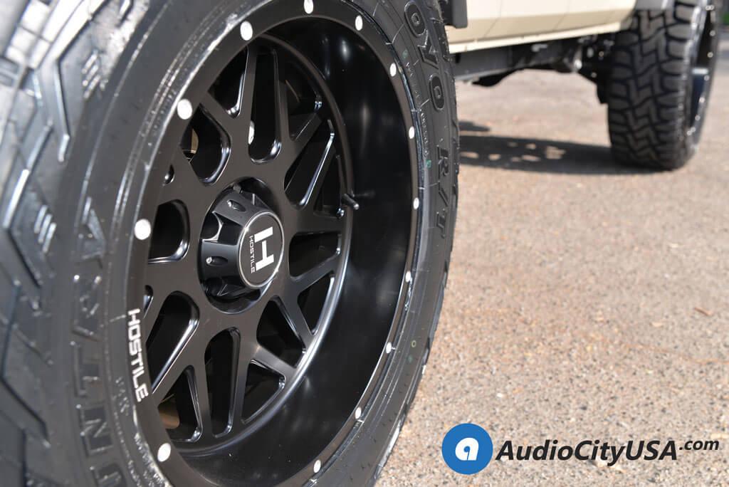 "20"" Hostile Wheels H108 Sprocket Satin Black Rims Audio City USA"
