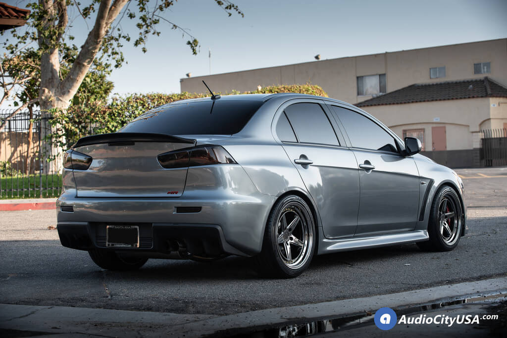 AodHan Wheels DS-05 Black Vacuum with Gold Rivet Rims | Lexani Tires | 2014 Mitsubishi Evo MR