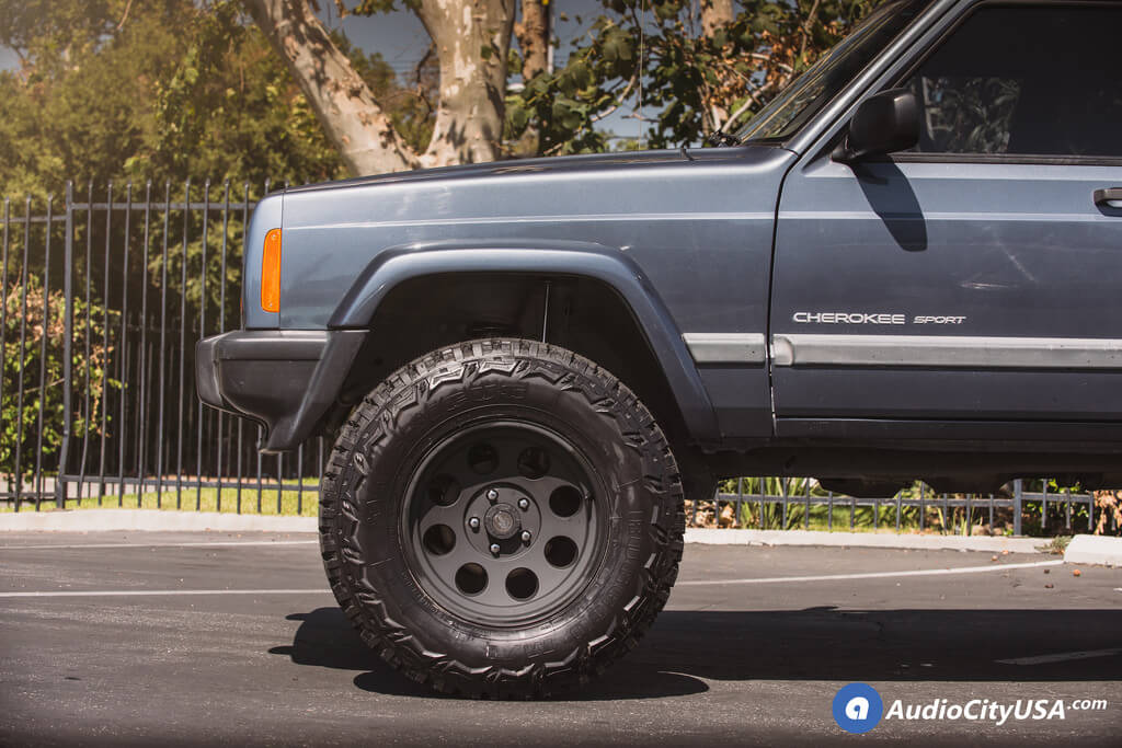 "Jeep Grand Cherokee Lift Kit >> Pro Comp Wheels 7069 Matte Black Rims | 4.5"" BDS Suspension Lift Kit | Americus Rugged MT Tires ..."