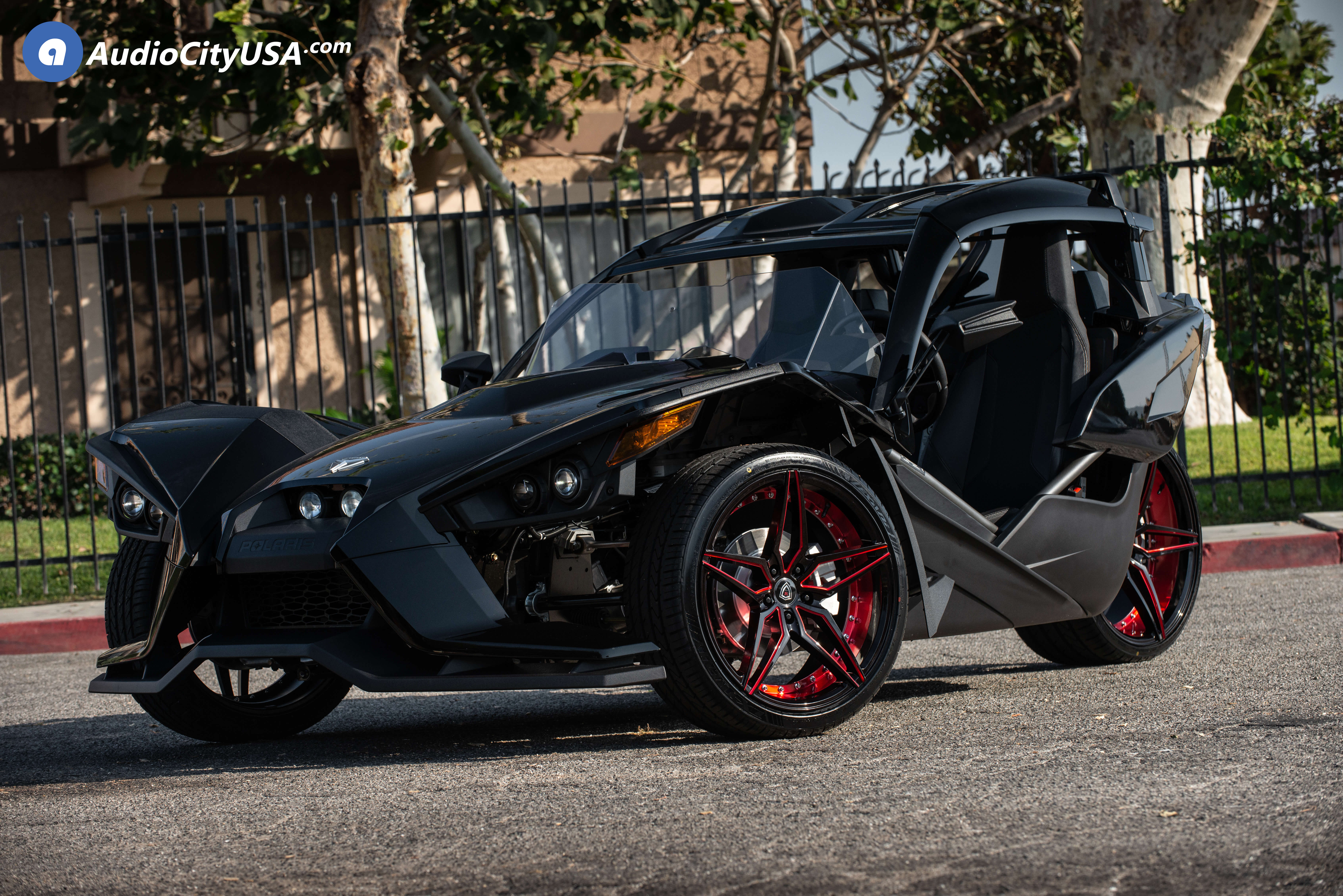 """20"""" & 22"""" Marquee Wheels M3259 Black Red Inner Extreme Concave Polaris Slingshot Rims"""