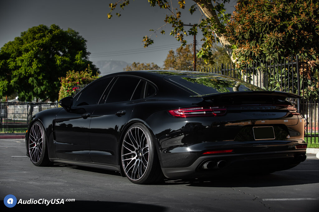 22 Staggered Savini Wheels Black Di Forza Bm13 Gloss Black With Ddt Light Weight For 2017 Porsche Panamera Turbo Audio City Usaaudio City Usa