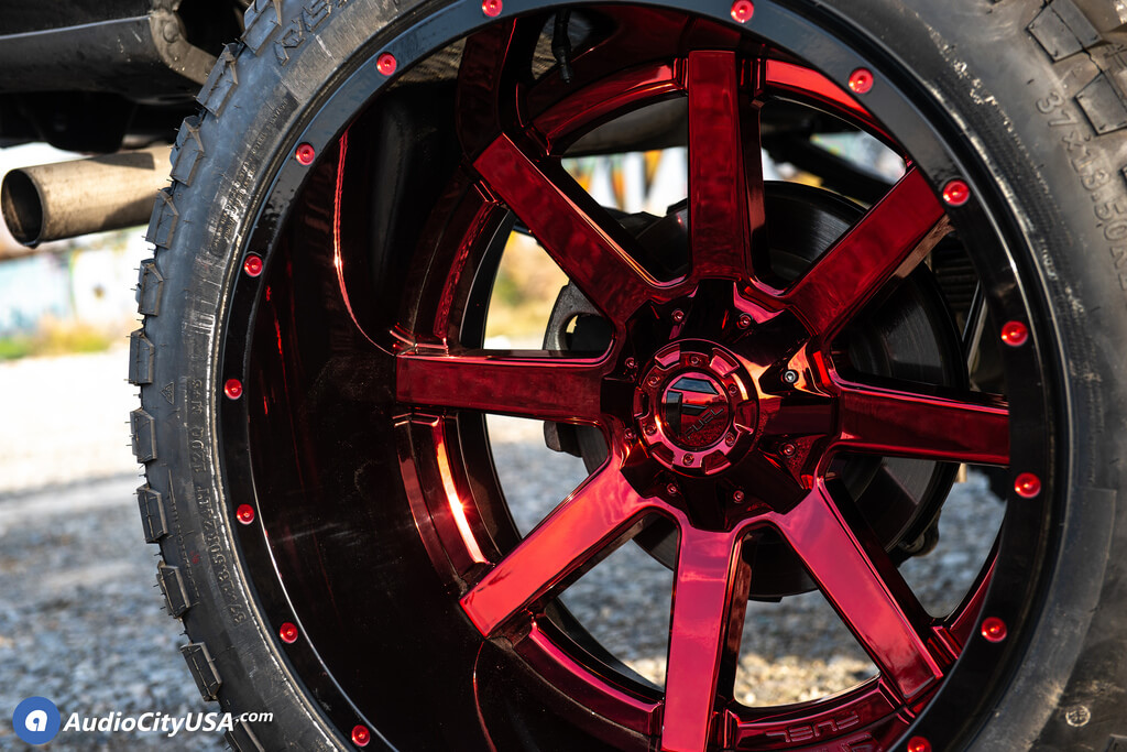 """Bulletproof Lift Kit >> 24"""" Fuel Wheels D260 Maverick Candy Apple Red with Gloss ..."""