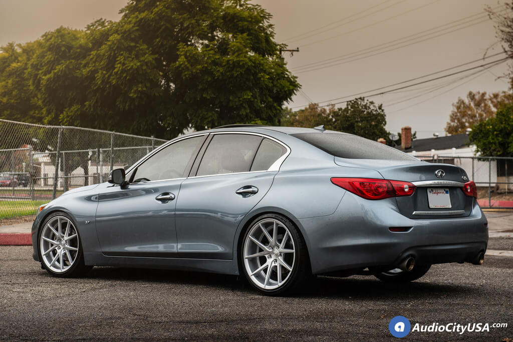 """20"""" Staggered Rennen Wheels CRL55 Silver Brushed Rims for Lowered Infiniti Q50 Audio City USA"""