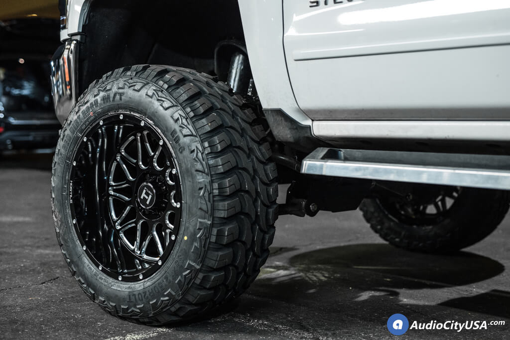 20″ Hostile Wheels Blaze Gloss Black Milled Off-Road Rims for 2017 Chevrolet Silverado 1500