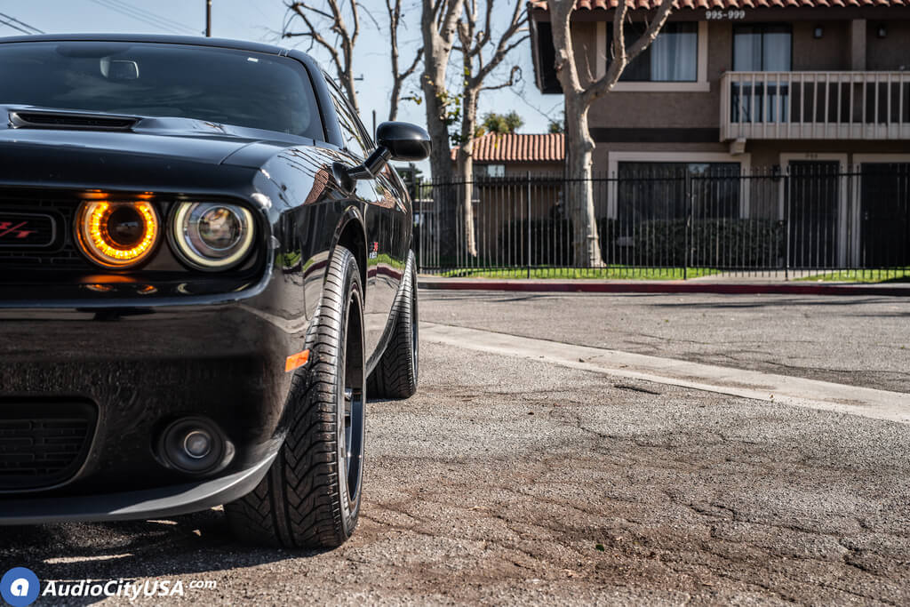 """20"""" FR  73 Staggered Dodge Demon Wheels with Gloss Black OEM Replica Rims"""