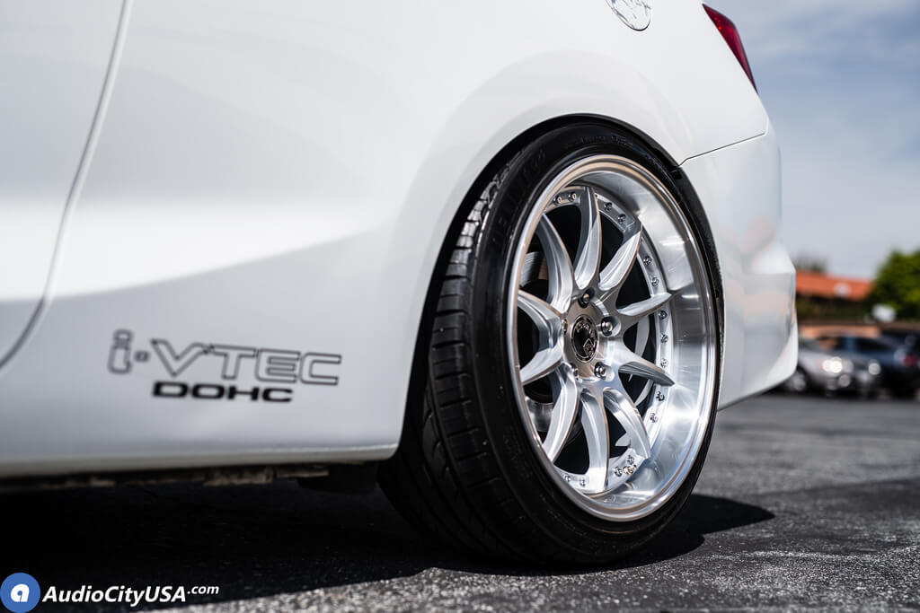 staggered aodhan wheels ds  silver machined rims  honda civic  audiocityusa
