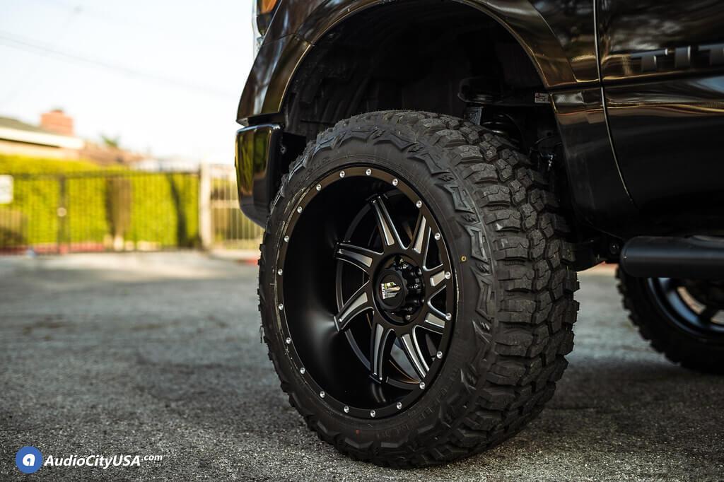 22″ American Truxx Wheels AT-162 Vortex Black Machined Off-Road Rims