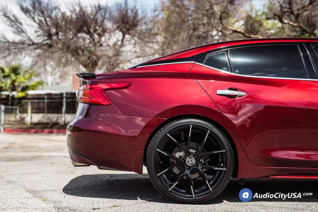 "Custom Nissan Maxima >> 21"" Lexani Wheels Stuttgart Gloss Black with Machined Tips ..."