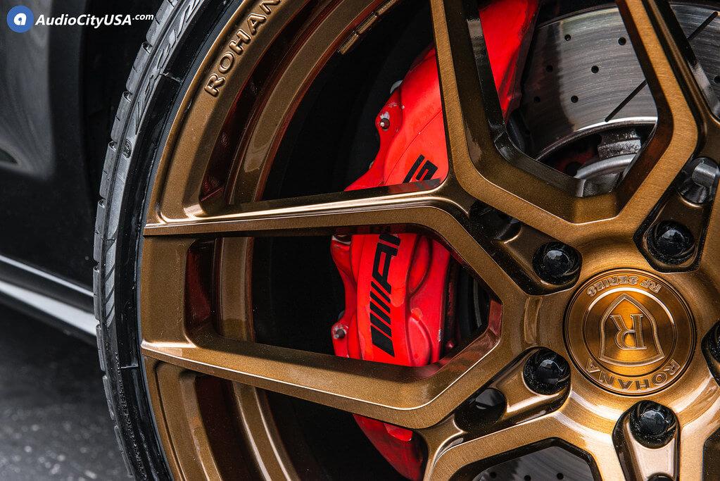 """20"""" Staggered Rohana Wheels RFX11 Brush Bronze Rims"""