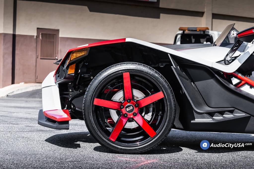 "20/22"" Staggered STR Wheels 607 Black  with Red Spoke Polaris Slingshot Rims"