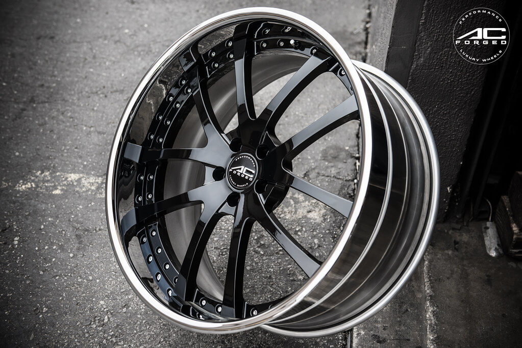 """22"""" Staggered AC Forged Wheels AC 312 Black Face with Chrome Lip Three Piece Rims"""