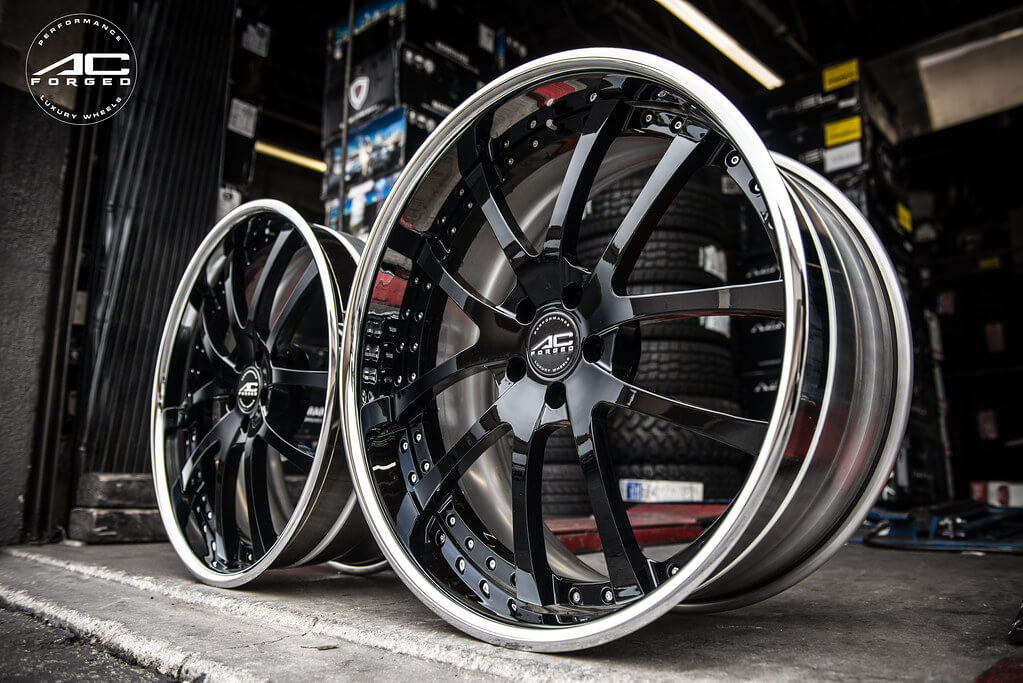 """22"""" Staggered AC Forged Wheels AC 312 Black Face"""