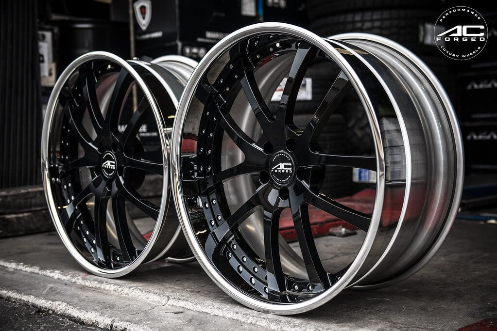 "22"" Staggered AC Forged Wheels AC 312 Black Face with Chrome Lip Three Piece Rims"
