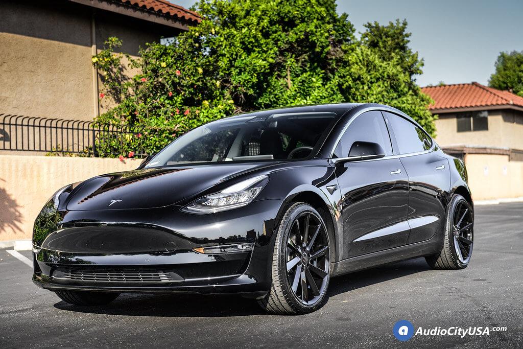 "20"" Staggered Koko Kuture Wheels Kapan Gloss Black Rims for 2019 Tesla Model 3  | Lexani LX-Twenty Tires"