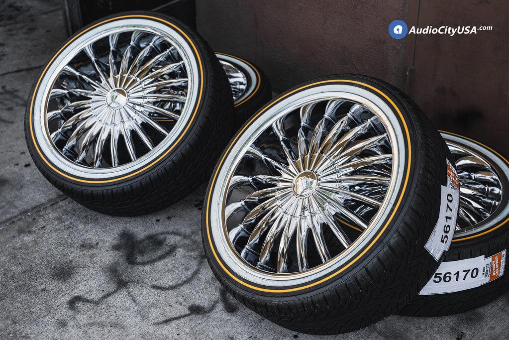 20x8 5 Velocity Wheels Vw11 Chrome Rims Vogue Tires With White