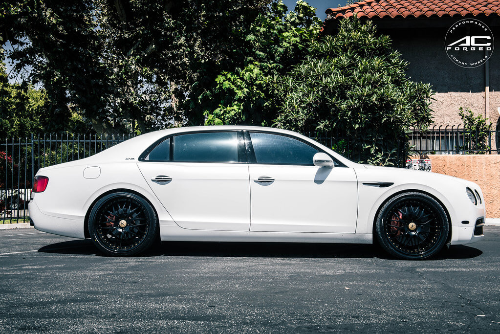 """22"""" Staggered AC Forged Wheels AC313 Matte Black with Gold Rivet Three Piece Rims"""