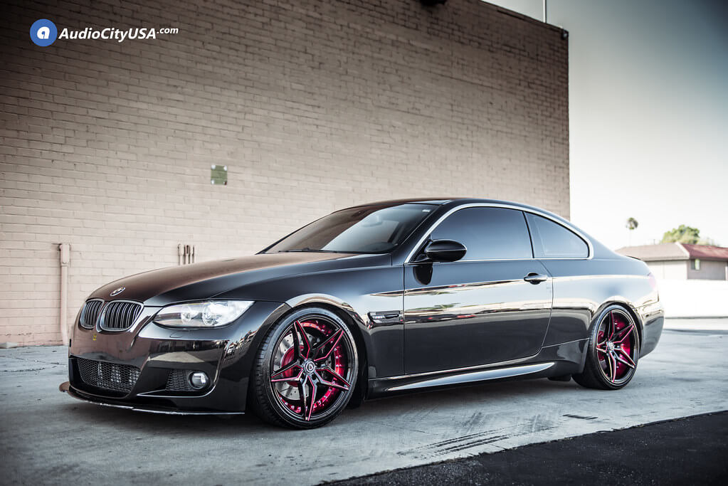 """19"""" Staggered Marquee Wheels M3259 Black Red Inner Extreme Concave Rims"""