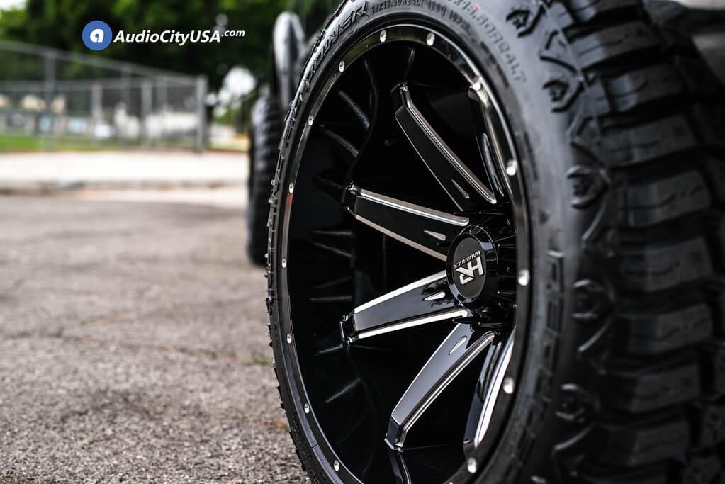 "22"" Hardrock Wheels H502 Pain Killer Xposed Gloss Black Milled Off-Road Rims"