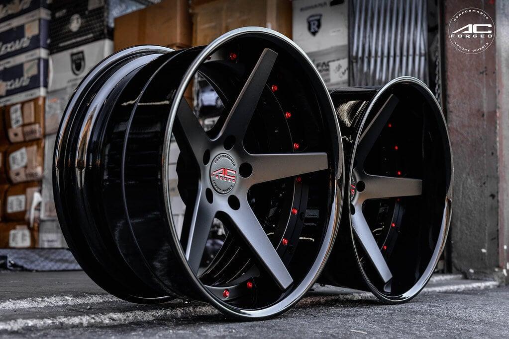 AC Forged Wheels ACR405 MatteBlack Face with Gloss Black Lip Three Piece Rims