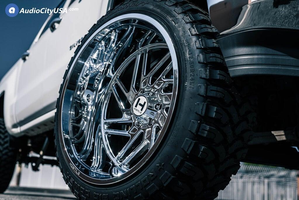 "24"" Hostile Wheels H116 Jigsaw Chrome Off-Road Rims"