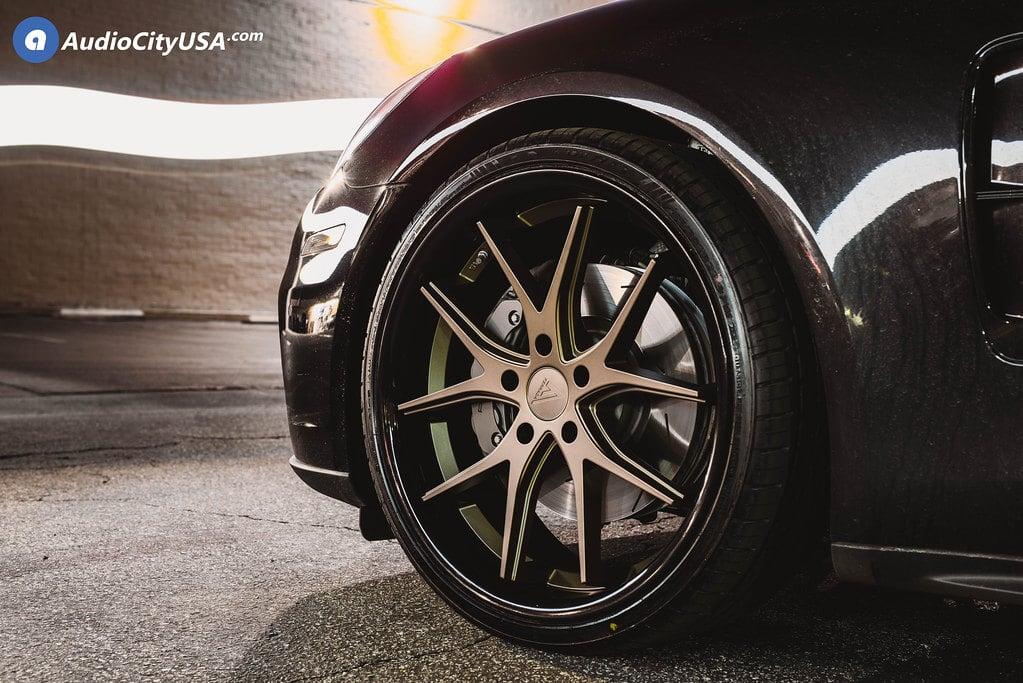 "22"" Staggered Ferrada Wheels FR2 Matte Bronze with Gloss Black Lip Rims"