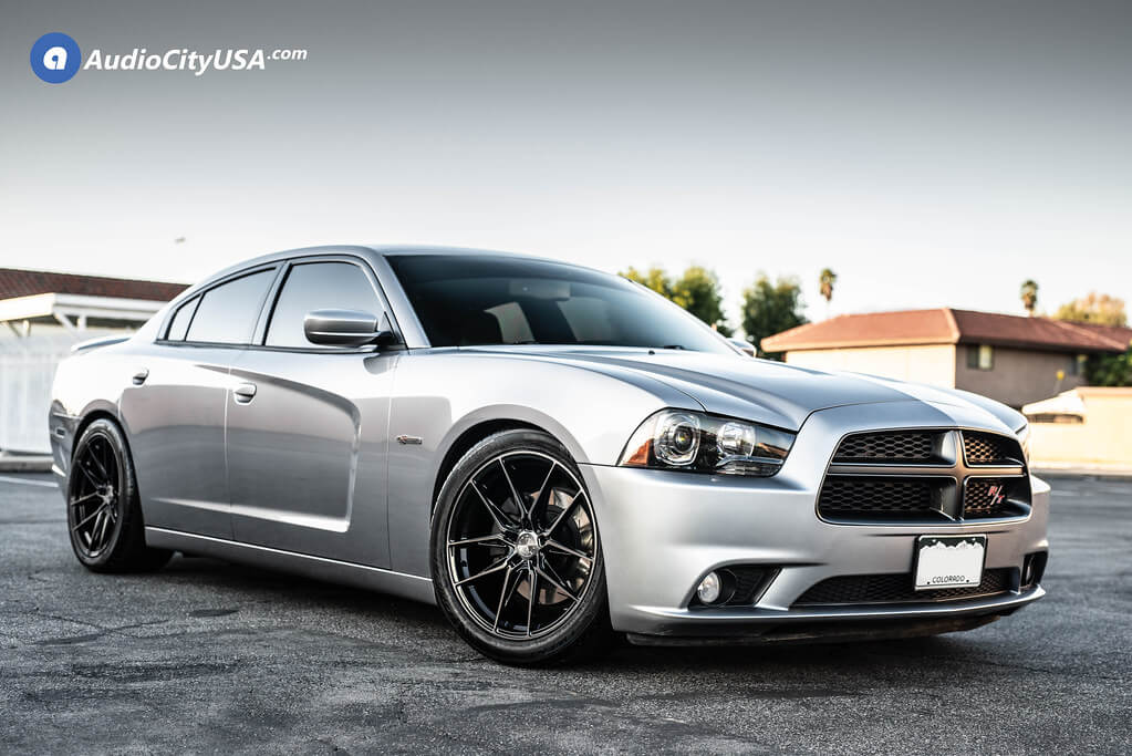 """20"""" Staggered Vertini Wheels RFS1.8 Dual Black Rims on dodge charger"""