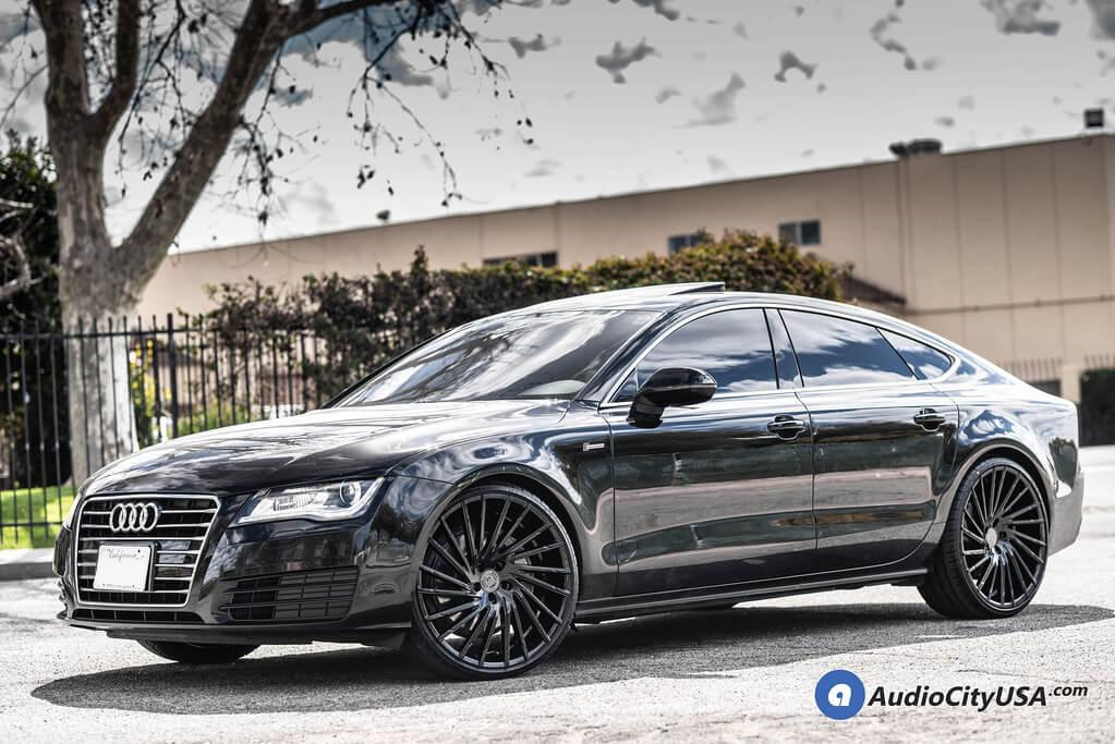 """22"""" Staggered Lexani Wheels Wraith Gloss Black Rims"""