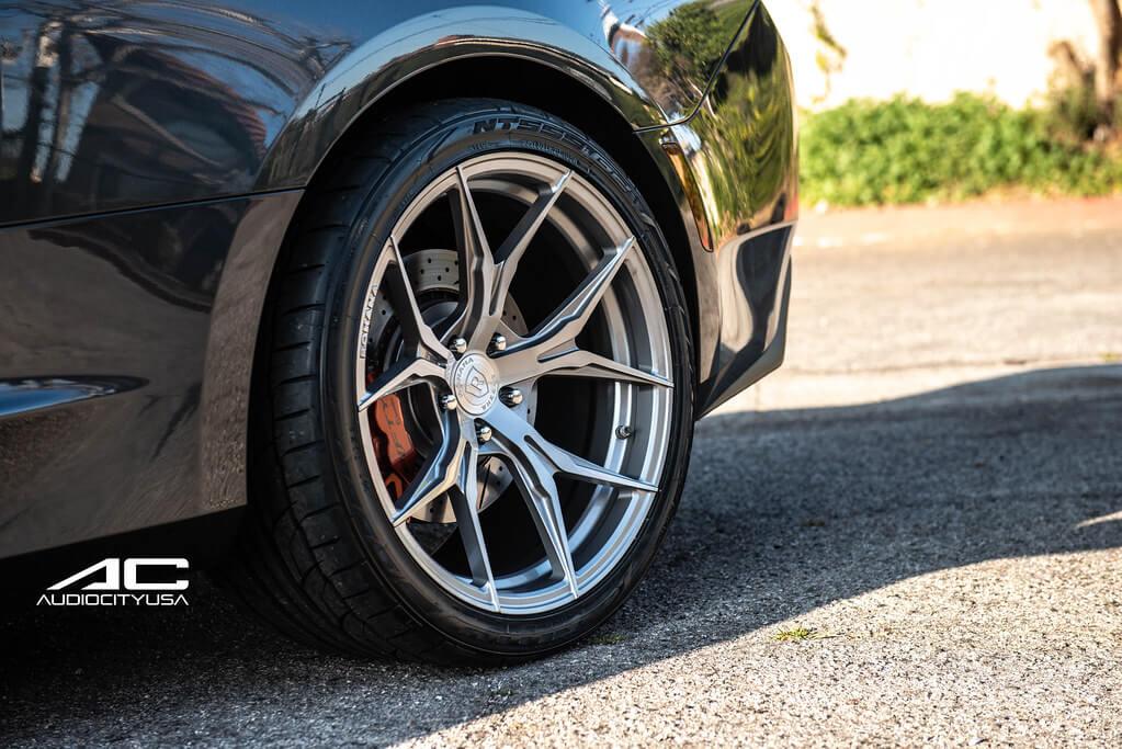 "20"" Staggered Rohana Wheels RFX5 Brushed Titanium Rims"