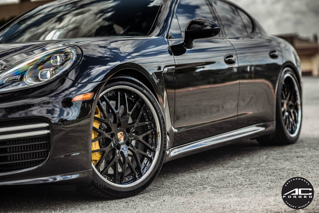 AC Forged Wheels AC313 Gloss Black Face with Chrome Lipwith  Three Piece Rims 2