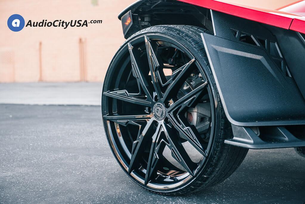 "24"" Lexani Wheels Venom Gloss Black for 2018 Polaris Slingshot Audio City USA"
