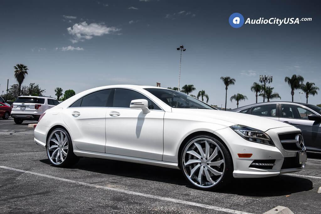 "22"" AZAD Wheels AZ911 Silver Face with Chrome Lip *True Directional Rims | 2014 Mercedes Benz CLS 550"